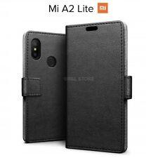 COVER per Xiaomi Mi A2 Lite CUSTODIA PORTAFOGLIO in PELLE Nero Leather CASE