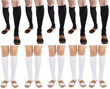 BL/WH 10 Pair Copper Compression Support Socks 20-30mmHg Graduated Men's Women's