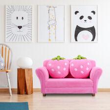 Canapé Lit pour Enfants Chaise de Fauteuil avec 2 Oreillers de Fraise Bleu/Rose