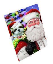 Jolly Old Saint Nick Santa Shih Tzu Dog Gifts Woven Throw Sherpa Blanket T147