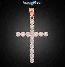Rose Gold Diamond Eternity Circle Cross Pendant