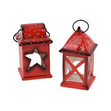 LANTERNA ROSSA DI NATALE in CERAMICA porta candela o lumino natalizio - 15 cm