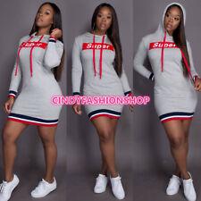 USA Women Girl Hooded Letter Print Sweatshirt  Body con Casual Sexy Mini Dress W