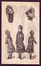 1800's Old Vintage Childrens Girls Victorian Fashion Clothing Art PRINT d