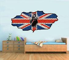 Union Jack Grim Reaper Graffiti Brick Wall Bedroom Art