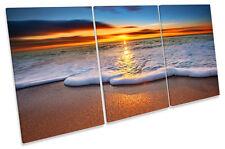 Sunset Beach Surf Wave Arena LONA pared arte Foto impresión Triple