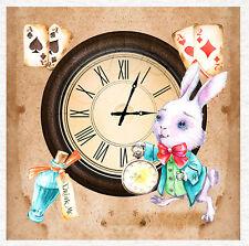 Alice in Wonderland, White Rabbit watch, Fabric Upholstery Craft Panel