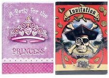 Princess Pirate Invitation Card Envelopes Party Birthday Child Kid Boy Girl Xmas