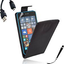 Black Leather Flip Case Cover Microsoft Nokia Lumia 640 / 640XL +SP&Stylus&Cable