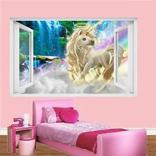 DREAMLAND RAINBOW UNICORN WALL STICKERS 3D ART MURAL ROOM OFFICE HOME DECOR UY2