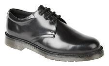 Mens Black Hi-Shine Smooth Leather Uniform Shoes
