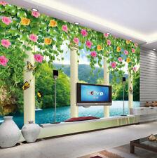 3D Blumen, See, Pavillon 3 Fototapeten Wandbild Fototapete BildTapete Familie DE