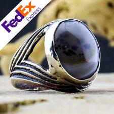 Yemeni Dendritic Agate Stone 925 Sterling Silver Turkish Handmade Men's Ring