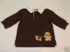 Gymboree Infant Boys Brown Gingerbread Dog Top Long Sleeve Shirt 3-6 Mos. NWT