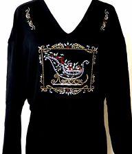 PLUS 3X Hand Embellished Rhinestone Christmas Ornate Decoration Sleigh Top Shirt