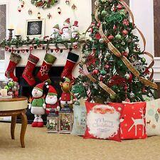 New Cotton Linen Christmas Deer Pillow Case Cushion Cover Sofa Home Car Decor CA