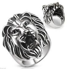 Bague acier tete de lion rugissant bague biker Roaring Lion's head ring