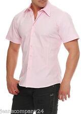 Wasabi Kurzarm Hemd Designer Freizeithemd Herren Shirt Slim-Fit NEU WOW Rosa