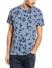 French Connection Tinta floral de moda Camiseta azul patrón Slim Fit Algodón Camiseta