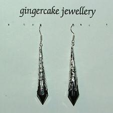 Nero Stile Vittoriano Orecchini pendenti in filigrana d'argento placcata in acrilico 7cm Gancio