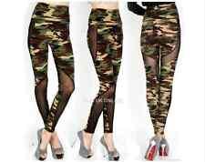 Army Green Mesh Design Camouflage Slim Camo Print Leggings Pants Yoga Trousers