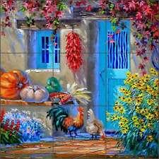 Ceramic Tile Mural Backsplash Kitchen Senkarik Rooster Flowers Pepper Art MSA174