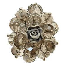 Bague cristal facette GRIS fumée Fleur fimo réglable Taille 56 58 60 62 64 66