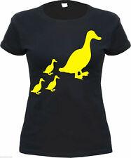 Damen T-Shirt mit ENTEN Motiv - schwarz/gelb - S bis XL - ente entenfamilie duck