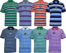 New Men Short Sleeve Yarn Dyed Stripe Polo Shirt T- shirt Top Casual M - XXL