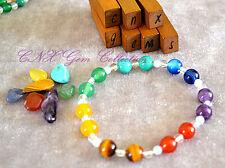 Gemstone Natural Crystal Chakra Set Bead Bracelet Amethyst Tiger Eye Kids