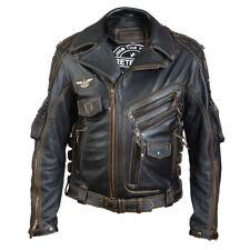 Men's Real Cowhide Premium Leather Motorcycle Biker Leather Jacket New HD Black