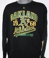 NEW Mens Majestic MLB Oakland Athletics A's Black Baseball Long Sleeve Shirt