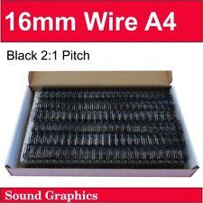 """16mm 5/8"""" TWIN LOOP BINDING WIRE 2:1 Pitch 23 Loop Box of 50 - Black / Silver"""