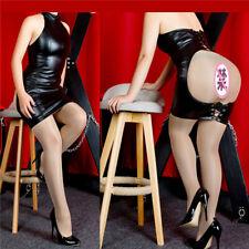 Sexy Black Leather Sleeveless Butt Opening Dress Women Roleplay Lingerie SM Gear