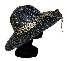 Chapeau taille M / L femme de paille noir blanc avec bandeau panthère cérémonie
