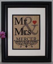 Personalized Burlap Print / Sign - Mr & Mrs Burlap Wall Art
