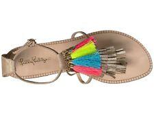 New Lilly Pulitzer ZOE SANDAL Gold Metallic Tassel Charm Thong Shoes 7 9 10