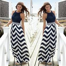 Women Summer Beach Skirt Stripe Casual Loose Sundress Party Long Maxi Dress BS