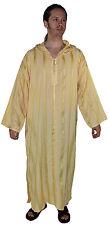 Djellaba Moroccan Men Hooded Caftan Kaftan Thobe Handmade Embroidered Yellow
