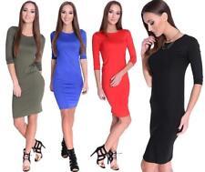 Kleid Klassisch 3/4 Arm in 6 Farben Gr. XS S M L XL 2XL 3XL
