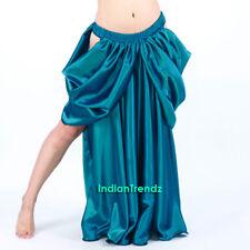 Teal - Satin Drape Skirt Swing Belly Dance Costumes Tribal Oriental Jupe Slit