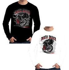 Velocitee da uomo a maniche lunghe T Shirt Death Defier Biker Tristo Mietitore DEVIL W16301