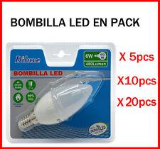 BOMBILLA DE VELA LED 6W CASQUILLO PEQUEÑO E14 LUZ BLANCA 6400K PACK DESDE 5 UDS