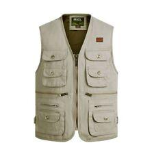 New Mens Casual Zip Pocket Vest Waistcoat Multi Fall Reporter Photographer Plus