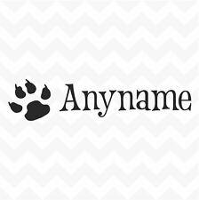 Cat paw personalised custom name vinyl sticker for wall car bowl fun pet