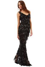 GODDIVA BLACK SEQUIN FLAPPER EVENING PROM MAXI WEDDING PARTY DRESS 8-14(WAS£149)