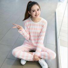 Women Striped Round Neck Long Sleeves Pajama Sets Sleepwear Two Piece Pyjamas