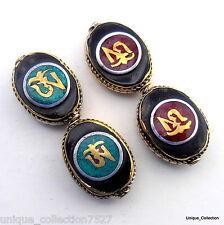 BD-199 Nepalese Artisan Handmade Tibetan OM Letter Turquoise Coral Brass 2 Beads