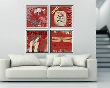 """Japanese Geisha Japanese Koi Fish Lantern Geisha Dragonfly 4 Pc Set 4x4""""-16x16"""""""
