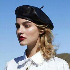 Women's Real Genuine Leather Sheepskin Hat Beret French Style Artist Newsboy Cap